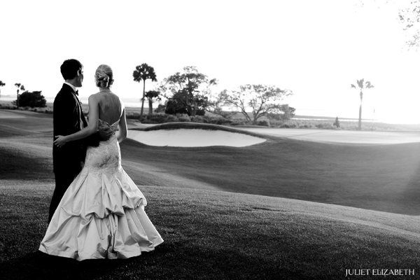 Newlyweds on the golf course