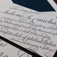 Flourish script embellishes this fabulous letterpress invitation!  Available at On Paper....