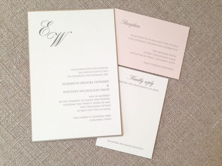 Classic elegant wedding invitation. On Paper.