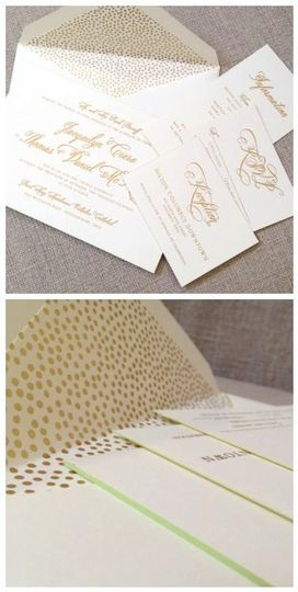 One of our most popular invitations - an updated classic. Gold foil stamped script and foil stamped...