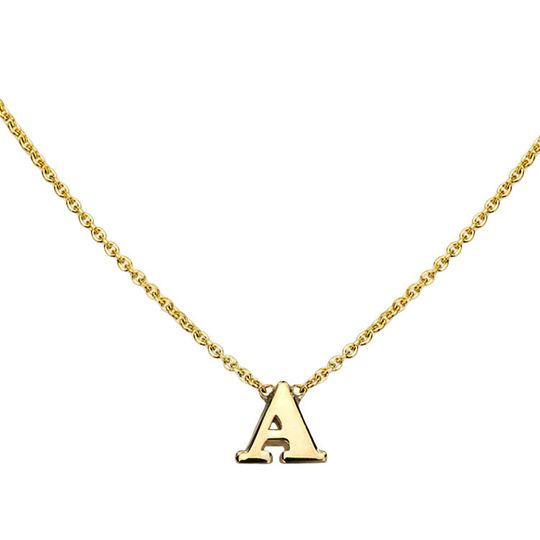 gold initial necklace a