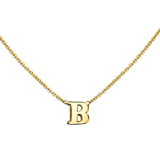 gold initial necklace b