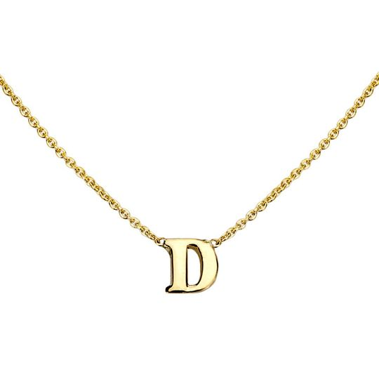 gold initial necklace d