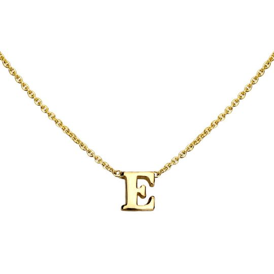 gold initial necklace e