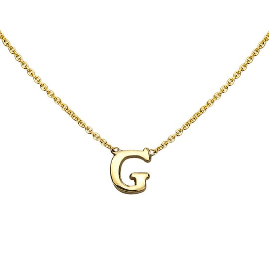 gold initial necklace g