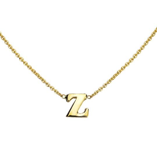 gold initial necklace z