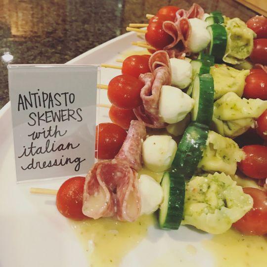 Antipasto skewers with italian dressing