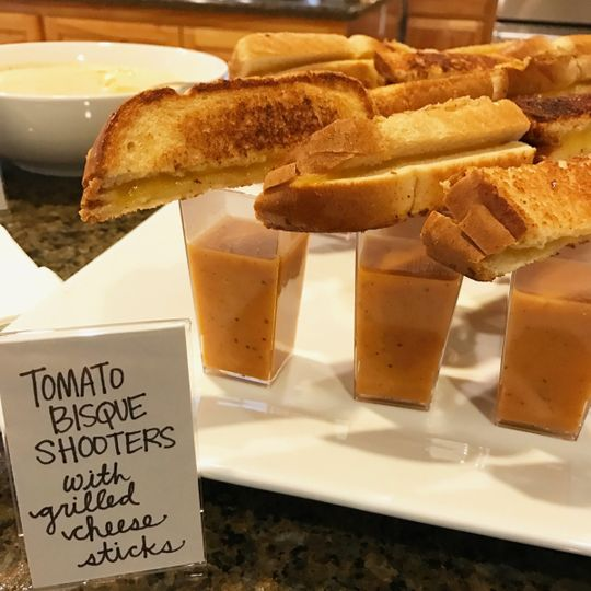 Tomato bisque shooters with grilled cheese sticks
