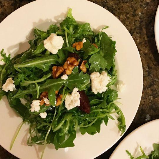 Warm beet and arugula salad