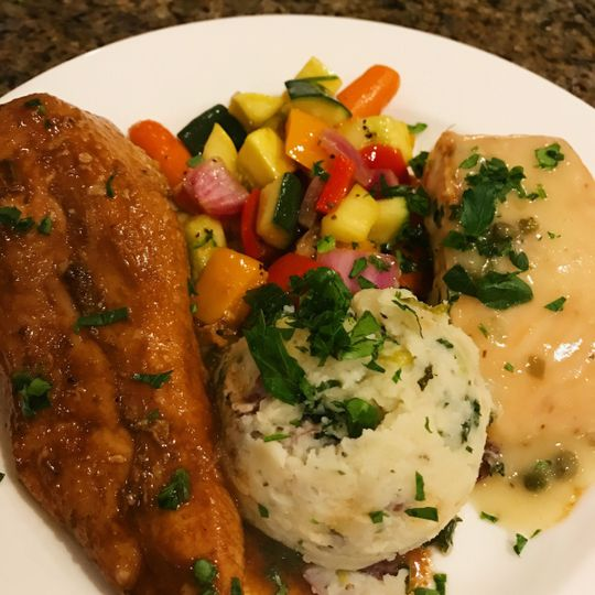 Roasted chicken with salmon, grilled veggies and colcannon entree