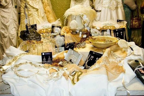 Tablescape highlighting the hair accessories offered by Bridal Destination on their grand opening...