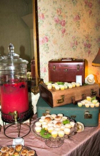 Vintage display of refreshments, including an heirloom lemonade for the grand opening of Bridal...