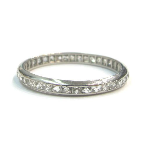 Vintage French cut diamond and platinum eternity band.