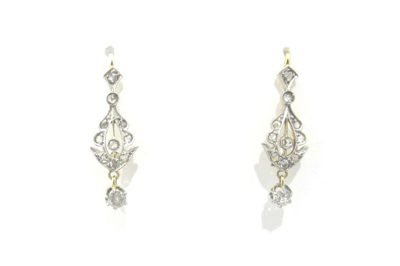 Edwardian platinum and 18k gold small dangle earrings, set with rose cut diamonds and an old...