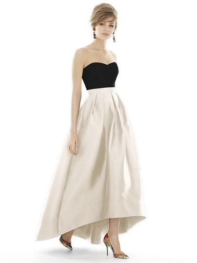alfred sung d699 bridesmaid dress two tone
