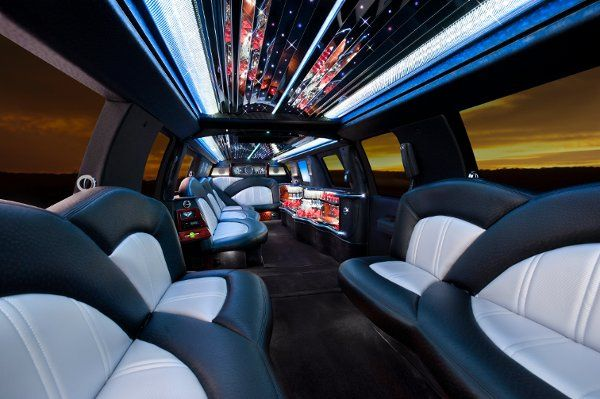 Interior of custom Ford Escapade limousine. Comfortably seats 24 passengers.