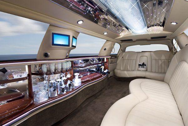 Interior of Lincoln Icon Super Stretch Limousine.  Comfortably seats 8 passengers.