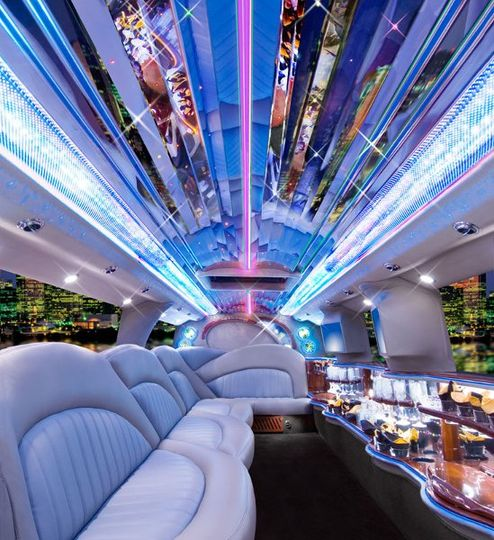 Interior of Hummer Icon limousine.  Seats 14 passengers with luxurious leather seating, hi tech...