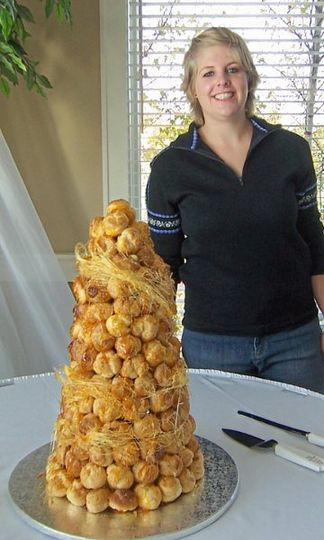 A croquembouche creation made by Cora for a large wedding.  The bride ordered an additional 200...