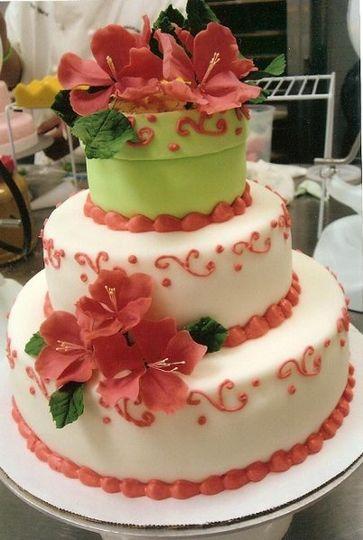 A three tier cake for a spring wedding.