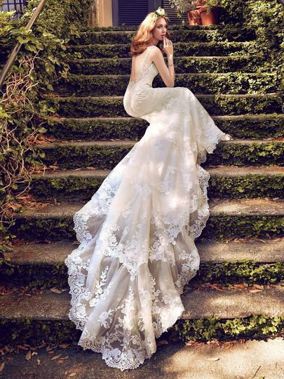 Bride sitting on the stairs