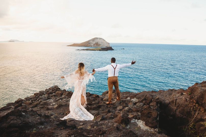 Bride and Groom on cliffs