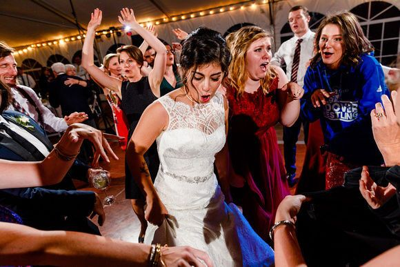 Bride fully surrounded with dancers- as always! :)