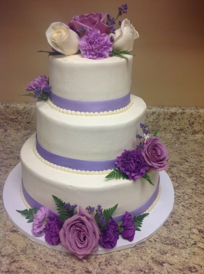 3-tier purple detailed cake