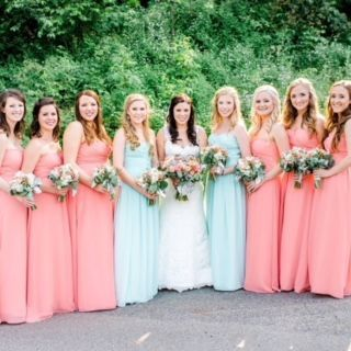 With the bridemaids