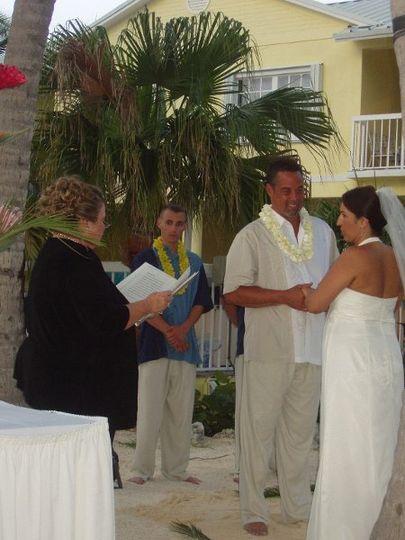 Destination beach wedding at Bayside Inn, Key Largo, Florida.  Civil Ceremony.
