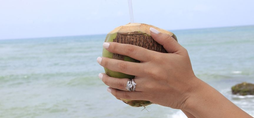 Holding a coconut