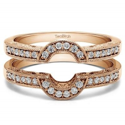 Two gold bands with diamond studs