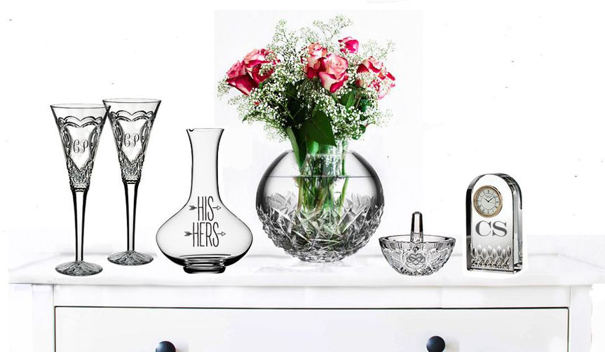 Crystal glasses on tables