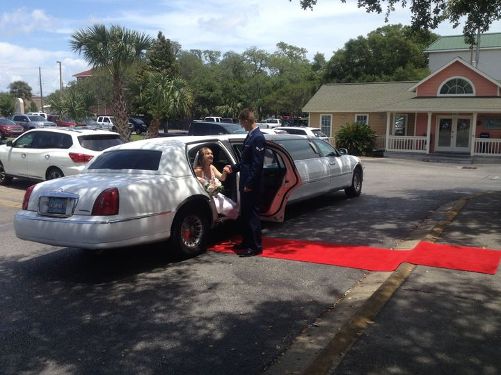Destin Limo LLC will roll out our Wedding limo VIP Red Carpet for your wedding in Destin, Florida,...