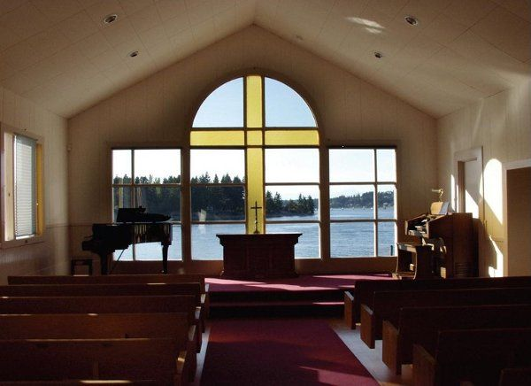 The Chapel's beautiful view of Tanglewood Island and Echo Bay.