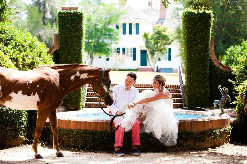 Lovely couple with horse