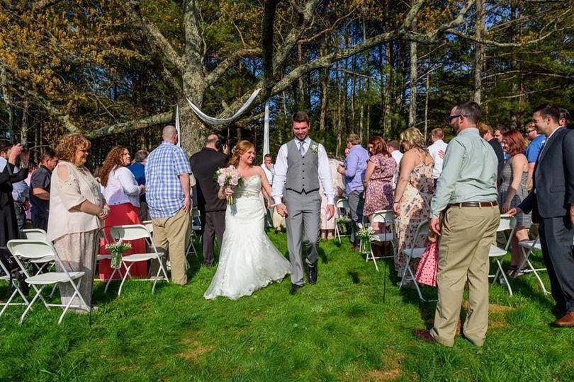 Newlyweds walk down the aisle
