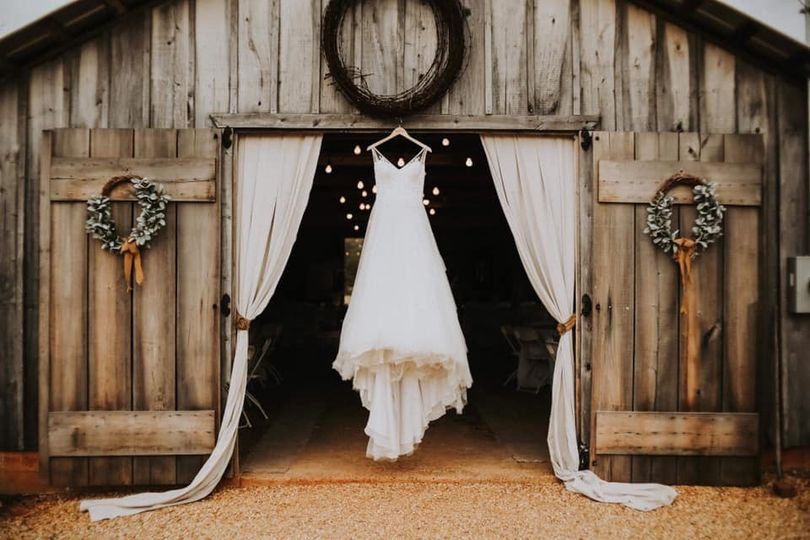 Wedding dress in barn doors
