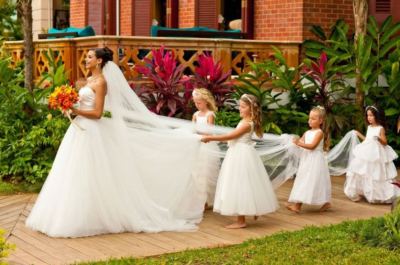 The bride and flower girls