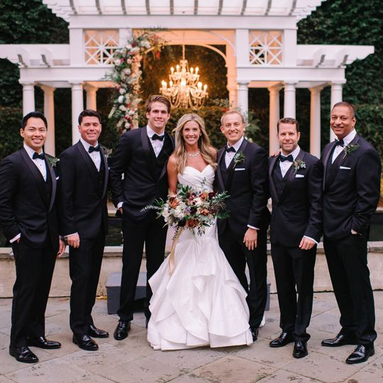 Black tuxedo wedding party