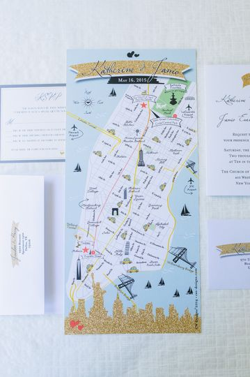 Custom Wedding Map Invitations