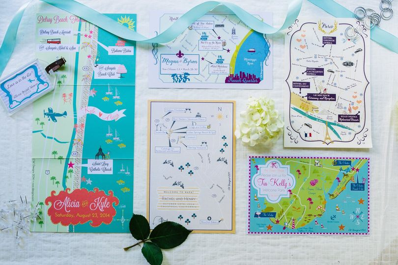 Custom Wedding Map Invitations, Wedding Maps, Save the Dates