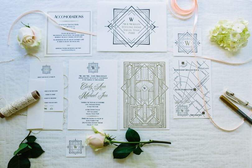 Custom Wedding Invitation Suite with Map. Art Deco