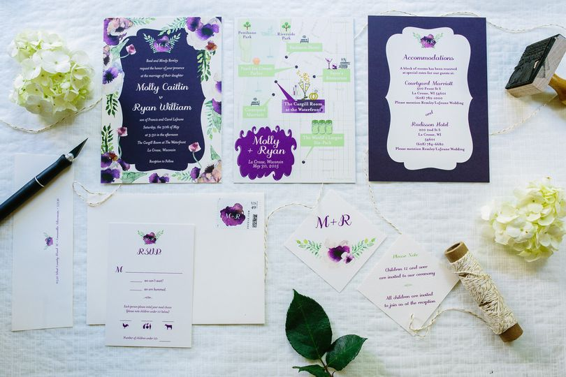 Custom Wedding Map Invitation Suite. Floral