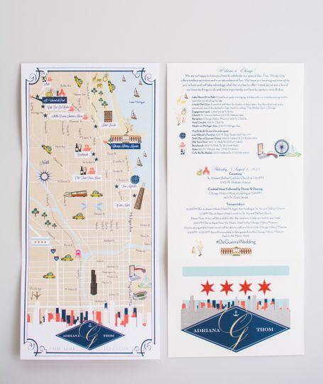 Custom Wedding Map Itinerary