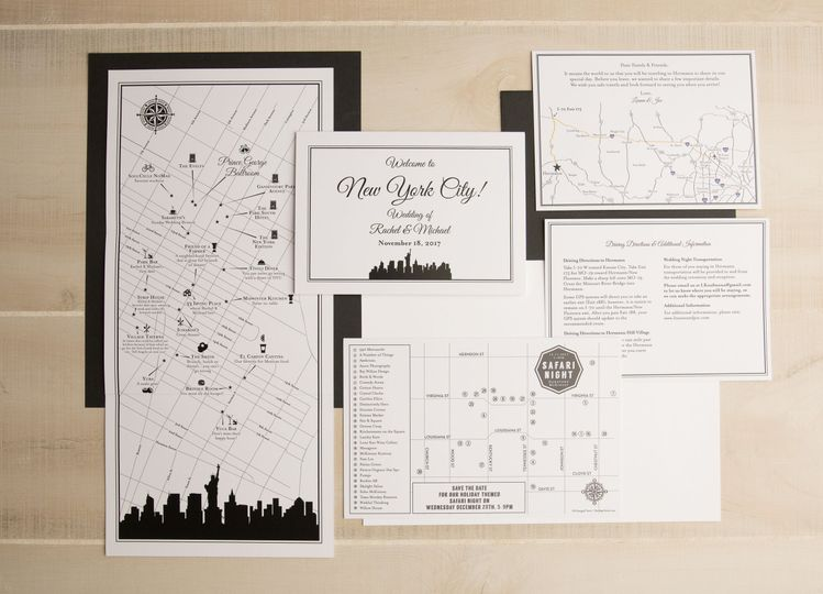 Custom Wedding Map Invitations. Modern Black and White