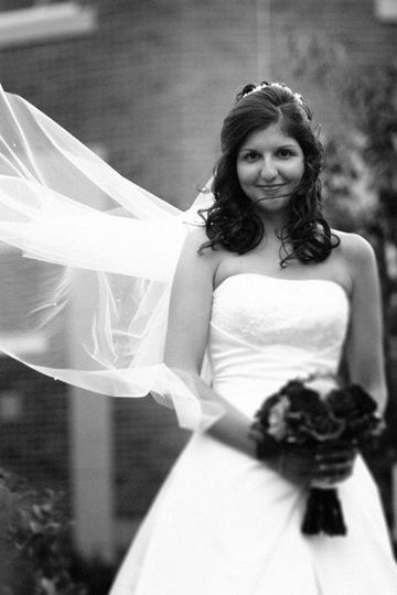 Flowing veil of a beautiful bride.