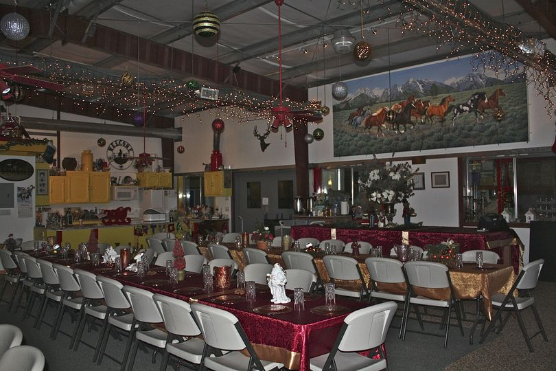 Reception area with long tables