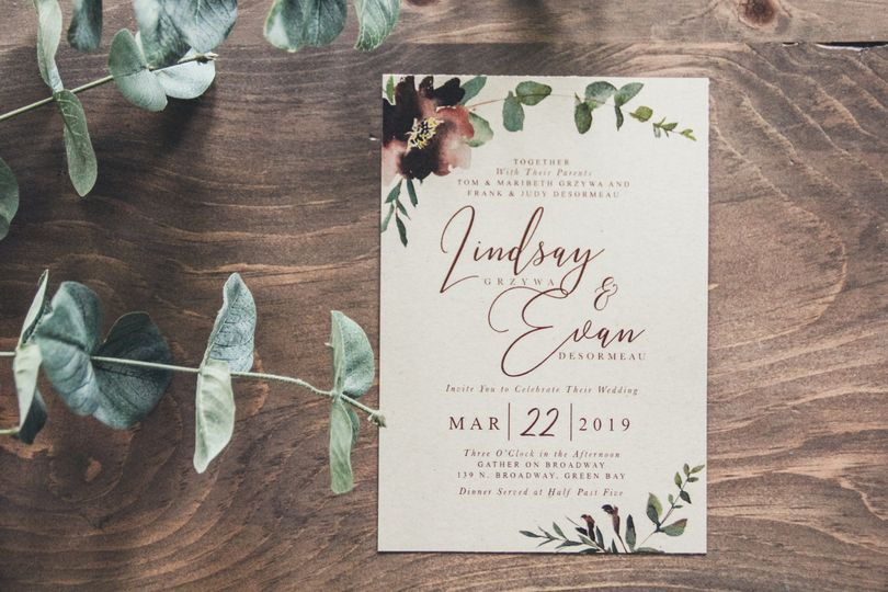 Wine Floral & Greens Invite