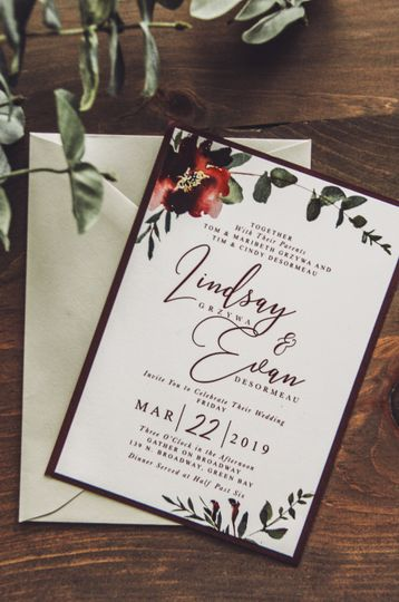 Wine Floral Wedding Invite